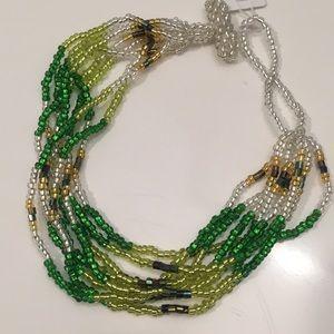 Jewelry - Himalayan Green & Gold Tone Beaded Bracelet